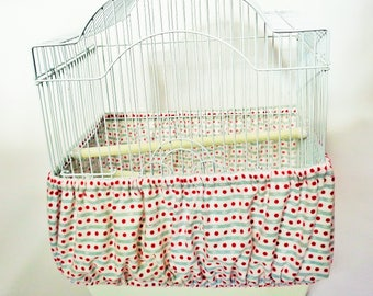 Small BIRD CAGE COZY Seed Catcher Skirt For Small Bird Cages 100% Cotton Flannel Print