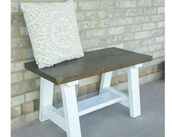 Small Cottage Bench - Entryway Bench - Front Porch Furniture - Porch Bench - Small Entryway Bench