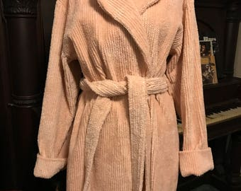 Victoria's Secret Full Length Plush Chenille Robe/Ballet Pink/Size Medium Large/Belted Wrap/Dressing Gown/Wedding Prep/Country Cottage