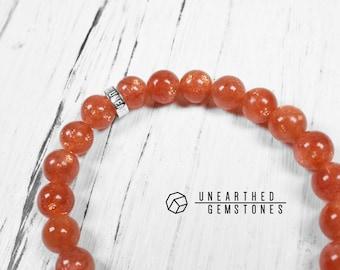 Genuine Sunstone Bracelet - Golden Bracelet, Gold Gemstone Bracelet, Healing Gemstone Jewelry, Elastic Stretch Bracelet