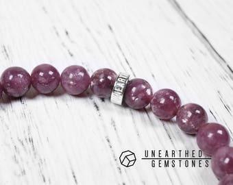 AAA Lepidolite Bracelet - Rare Gemstone Bracelet, Beaded Bracelet, Lavender Jewelry, Gemstone Jewelry, Lepidolite Jewelry