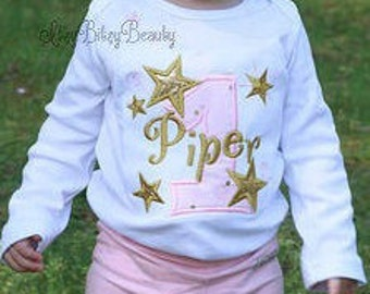 Girls Star First Birthday Outfit - Pink And Gold First Birthday - Twinkle Star Birthday - Girls First Birthday -