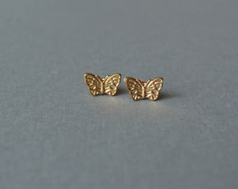Butterfly Stud Earrings, Minimalist Earrings, Butterfly Earrings, Tiny Earrings, Gold Earrings, Studs, Gift For Her, Gift Under 10 Dollar