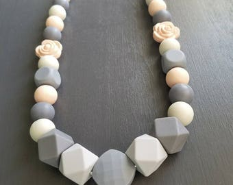 Peach and Grey Teething Necklace - Flower