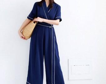 La Chic Parisienne Collection blue navy style jumpsuit