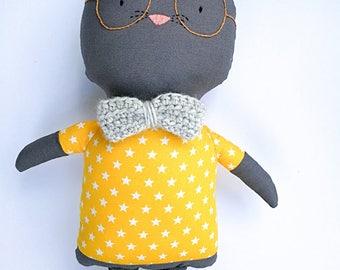 Sam the Geek Cat - rag doll - Stuffed animal - Cloth cat - Soft toy