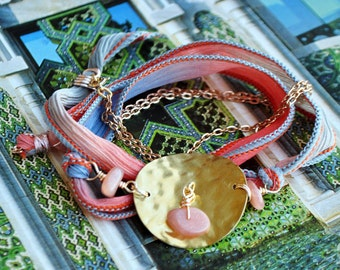 Bohemian brass hammered silk wrap bracelet peach designer gold plated chain and natural stone jewelry-Sun stone