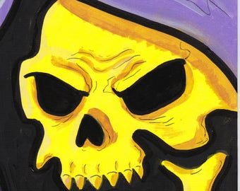 "Skeletor Masters of the Universe Painting Acrylic 6"" x 9"""