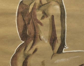 Original Marker and Charcoal Figure Drawing