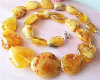 Butterscotch Egg Yolk Amber Necklace Natural Baltic Amber