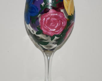 Painted Wine Glass - Flower Live Wildly Original