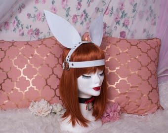 Bunny rabbit ears faux leather fetish headpiece - head harness -