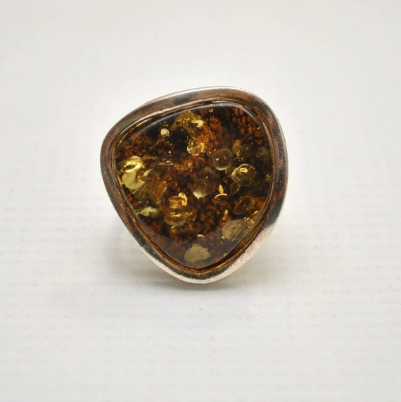 Sterling Silver Green Amber Adjustable Ring #9310