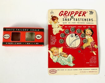 """Vintage Sewing Notions - """"Gripper Snap Fasteners"""" & Dritz Tailors' Chalk"""""""