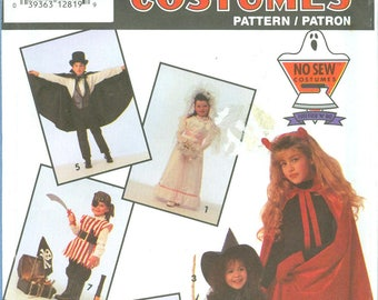 1992 Children's, Costume Bride, Princess, Witch, Devil, Magician  UC FF Size 2, 4, 6, 8, 10, 12 - Simplicity Costumes Sewing Pattern 7927