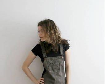 Vintage Denim Sarafan Dress Beige Checkered Denim Overalls Sarafan Dress Sleeveless Hipster Plaid Dress Medium Size