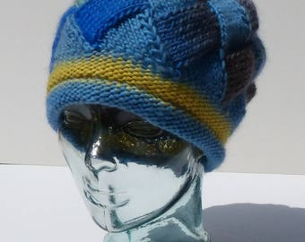 Womens Knit Hat, Hand Knit Hat, Winter Hat, Blue and Yellow Hat