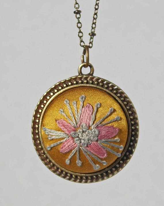 Embroidered Flower Pendant / Floral Stitched Necklace / Yellow Silk / Gift For Her