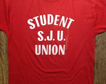 """Vintage 1980s 80s red student union t shirt tshirt 50/50 Anne 38"""" chest"""