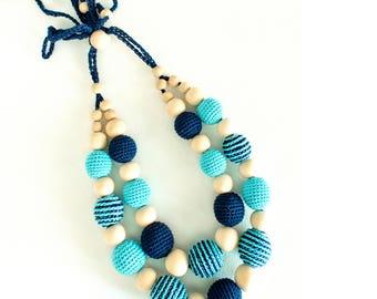 Nursing Necklace Navy Blue and Tiffany, 2 strand Teething Necklace, Crochet Breastfeeding, new mom, Summer baby shower gift, ethnic inspired