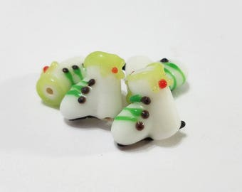 Christmas, Lampwork, Glass, Ice Skates, Skates, Handmade, Green, Red, Bracelet, Earring, Beads, Jewelry, Beading, Supplies
