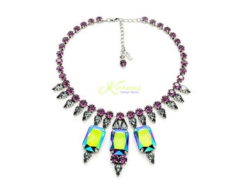 FOKÉS Mixed Size KDS™ 2017 Bold Statement Necklace *Antique Silver *Karnas Design Studio™ Free Shipping