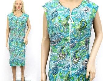 Vintage 60s Paisley Dress Large - 60s Zipper Dress - 1960s Paisley Dress - Green and Blue Paisley Dress - 60s Spring Dress Large