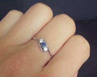 Vintage Sapphire Twist Trilogy Engagement Ring