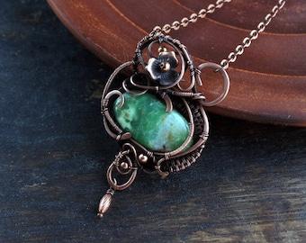 Green pendan Chrysoprase pendant Wire wrapped jewelry  Copper pendant  Stone jewelry  Artisan jewelry real gemstone jewellery OOAK