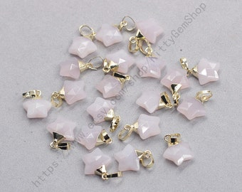 12mm Faceted Rose Quartz Star Pendants -- With Electroplated Gold Edge Gemstone Charms Wholesale Supplies YHA-350