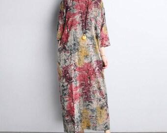 Floral Print Boho Kaftan Maxi Long Dress