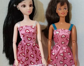 "B 076 Handmade Pink Satin Heart Print Sundress for Barbie and other 11 1/2"" and 12"" fashion dolls"