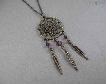 Bronze Dreamcatcher Charm Necklace