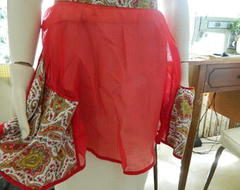 Red sheer mid century half apron with large paisley pockets