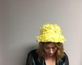 "1960s ""Devo"" Floral Bucket Hat O' Yellow"