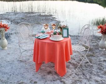 Coral Linen Tablecloth   Wedding Tablecloths   Beach Wedding Table Decor    Peach Wedding Table Top