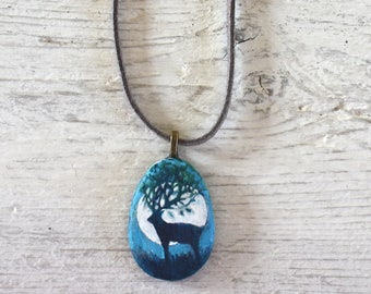 Hand painted Moon Stag stone pendant