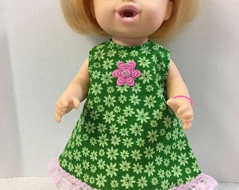 """BABY ALIVE 12 inch Doll Clothes, Green with """"FLOWERS"""" Dress with Pretty Pink Flower and Pink Lace! 12 inch Baby Alive Clothes, 12 inch Dolls"""