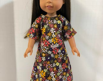 "Wellie Wishers Like 14.5 inch Doll Clothes, Pretty ""GARDEN of FLOWERS"" Flannel Nightgown, Fits 14"" Dolls like AG Wellie Wishers Doll Clothes"