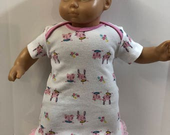 "15 inch Bitty Baby Clothes, Pink Ballerina ""BUNNY & Teddy BEAR"" in a Tutu Nightgown, 15 inch Bitty Baby or Twin, Fits 16 inch Cabbage Patch"
