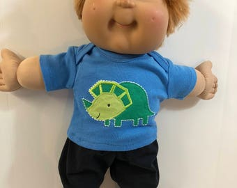 "BOY Cabbage Patch 16 inch Doll, 2-Piece Outfit, Super Cool ""DINOSAUR"" Top, Black Pants, 16 inch Cabbage Patch Doll Clothes, Love Dinosaurs!"