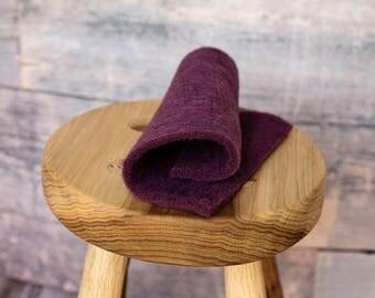 Mulberry Bluegrass Prefelt for needle felting or wet felting - dark plum purple - domestic wool - handmade on a FeltLOOM