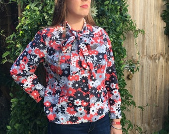 1970s Vintage St Michael Pussy Bow Floral Blouse - Approx Size 12-14-GC