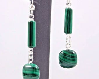 Malachite Tube and Puffed Square Dangle Earrings - Sterling