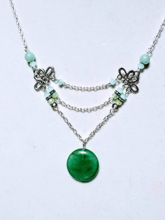 Meditation Stone Necklace: Start the Journey. Jade and Blue Opal. Yoga, meditation, chakra, mala, buddhist, reiki