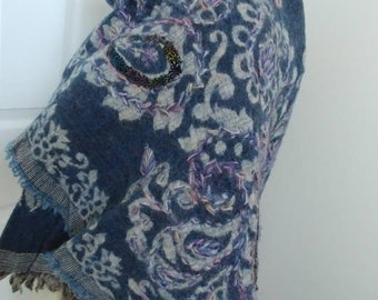 Indigo Blue Paisley Wool Shawl - Purple Lilac Blue Indian Hand Embroidered Pashmina -Vintage 90s Large Afghan Scarf Artisan OOAK Jain Shawls
