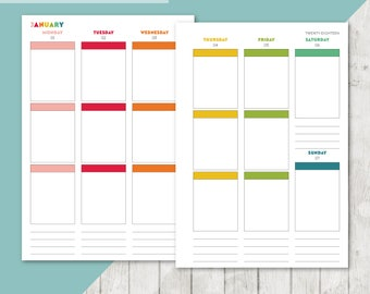 BR-A5 | 2017-2018 Vertical Week On 2 Pages Printable Planner Inserts - 2017 2018 Weekly Two Pages A5 Inserts Filofax Calendar Printable Page