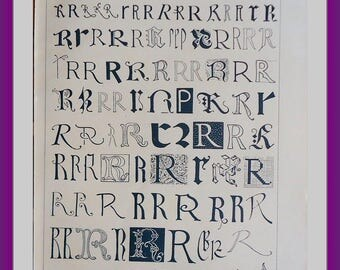 History of the LETTER R through time. 1956 Year Authentic vintage old nice print!