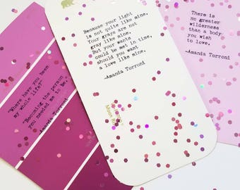 Set of 3 Hand-Typed Mini Valentine's / Typewriter Love Poems on Assorted Paint Sample Swatches by Amanda Torroni -- Gifts for Him or Her