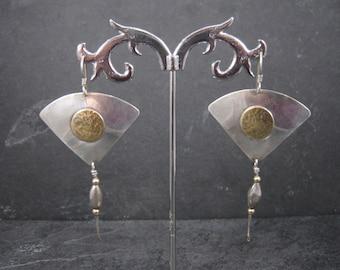 Long Vintage Sterling Fan Earrings